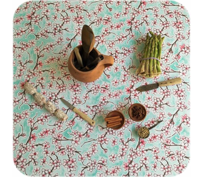 Mexicaans Tafelzeil Kersenbloesem - 120 x 220 cm - Mintgroen