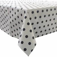 Tafelkleed Gecoat Stippen - 150 x 250 cm - Wit/|Zwart