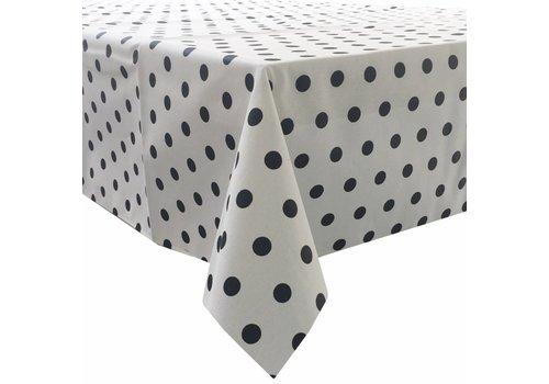 MixMamas Tafelkleed Gecoat Stippen - 150 x 250 cm - Wit/|Zwart