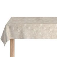 Rond Tafelkleed Gecoat Jacquard - Ø 160 cm -Palm Leaves- Beige