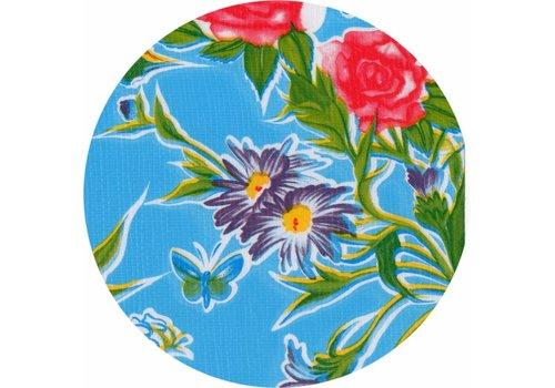 MixMamas Tafelzeil Rond - Ø 120 cm - Vlinder - Lichtblauw