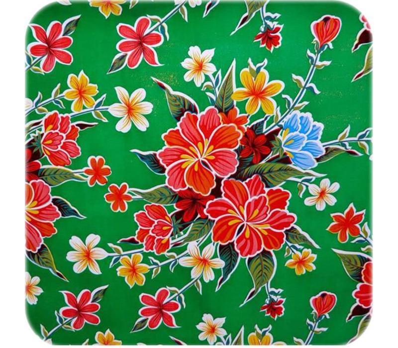 Mexicaans Tafelzeil Fortin Hibiscus - 120 x 270 cm - Groen