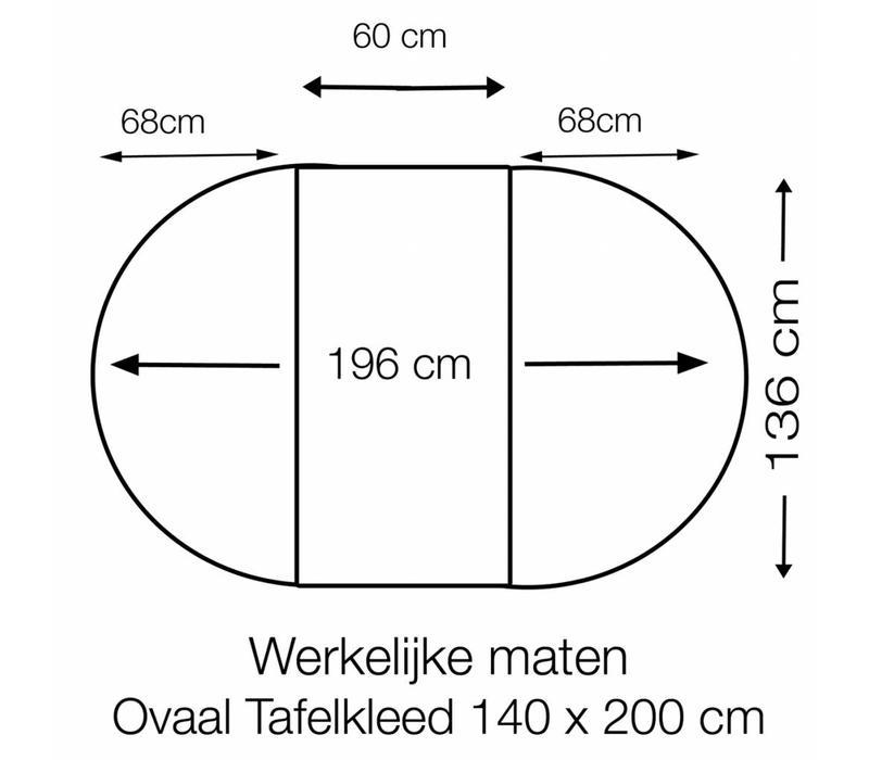Tafelzeil Ovaal - 140 x 200 cm - Stippen - Grijs/Wit