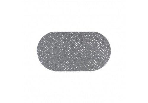 MixMamas Tafelzeil Ovaal - 140 x 200 cm - Stippen - Grijs/Wit