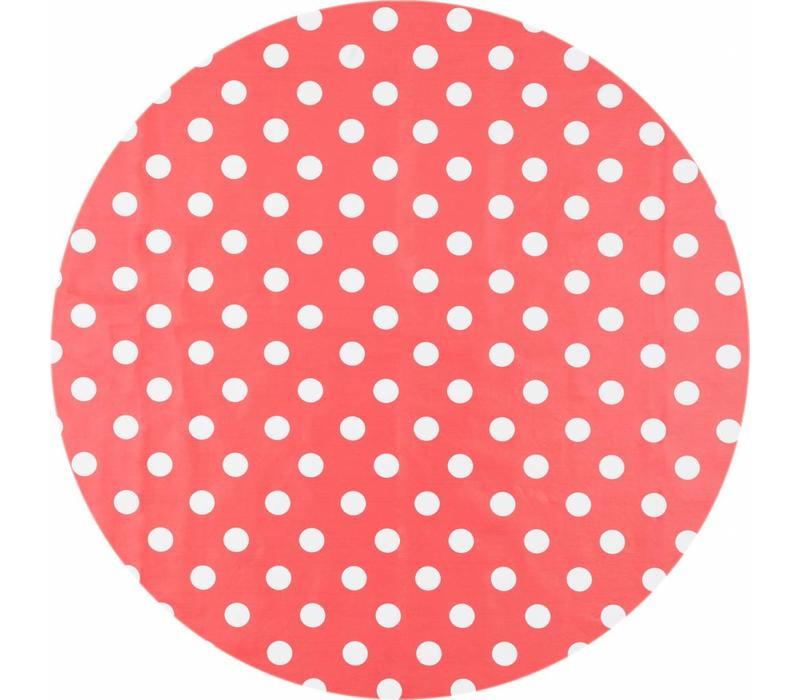 Tafelzeil Rond - Ø 140 cm - Grote Stip - Rood/Wit