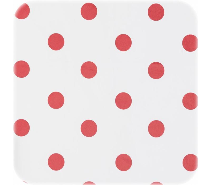 Tafelzeil Grote Stip - 140 x 250 cm - Wit/Rood