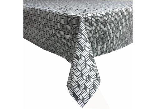 MixMamas Tafelkleed Gecoat Kubussen - 140 x 250 cm - Grijs/Antraciet