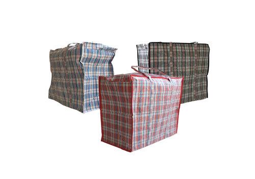 MixMamas Big Shopper Boodschappentas - 60 x 50 cm - Set van 3 - Rood/Blauw/Zwart