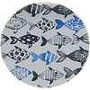 MixMamas Rond Tafelkleed Gecoat - Ø 160 cm Visjes -Blauw/Zwart