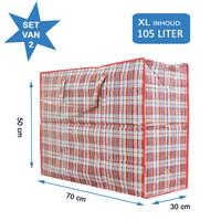 Big Shopper / Opbergtas / Waszak XL - 70 x 50 cm - Set van 2- Rood