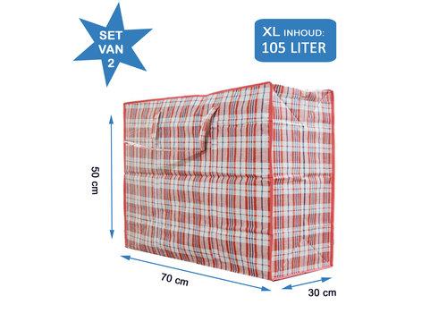 MixMamas Big Shopper / Opbergtas / Waszak XL - 70 x 50 cm - Set van 2- Rood