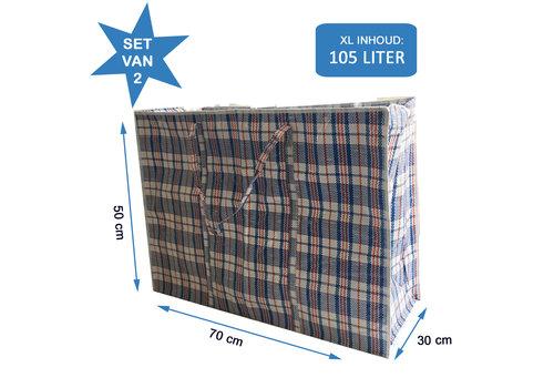 MixMamas Big Shopper / Opbergtas / Waszak XL - 70 x 50 cm - Set van 2 - Blauw