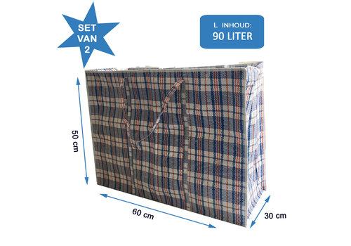 MixMamas Big Shopper Boodschappentas - 60 x 50 cm - Set van 2 - Blauw