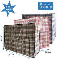 Big Shopper / Opbergtas / Waszak XL - 70 x 50 cm - 105 L -  Set van 3 - Rood/Blauw/Zwart