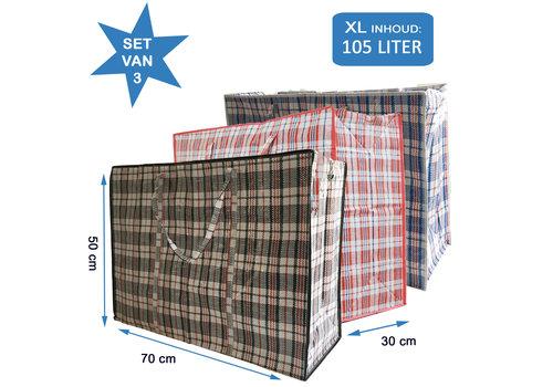 MixMamas Big Shopper / Opbergtas / Waszak XL - 70 x 50 cm - Set van 3