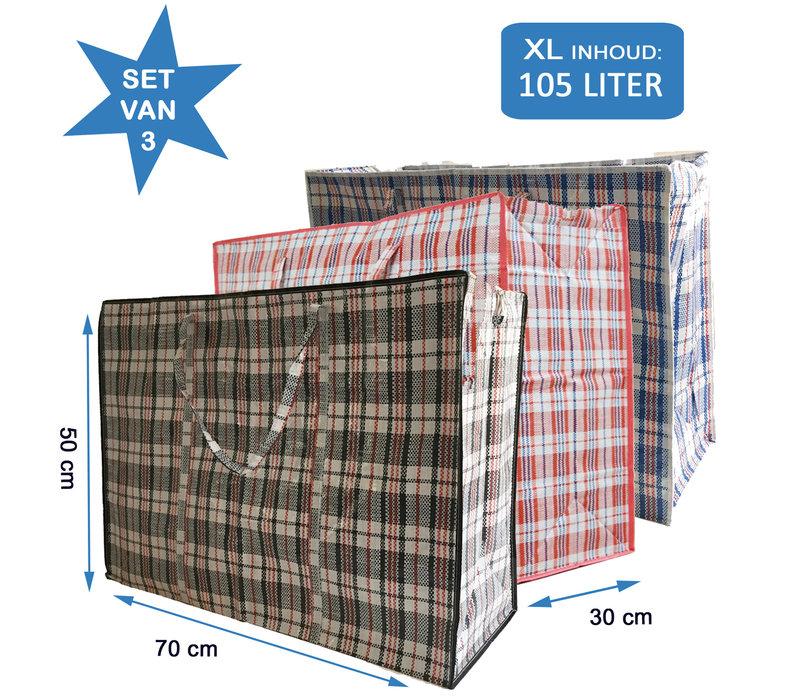 Big Shopper / Opbergtas / Waszak XL - 70 x 50 cm - 105 L -  - Set van 3 - Rood/Blauw/Zwart