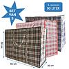 MixMamas Big Shopper Boodschappentas - 60 x50 cm - 90 L - Set van 3 - Rood/Blauw/Zwart