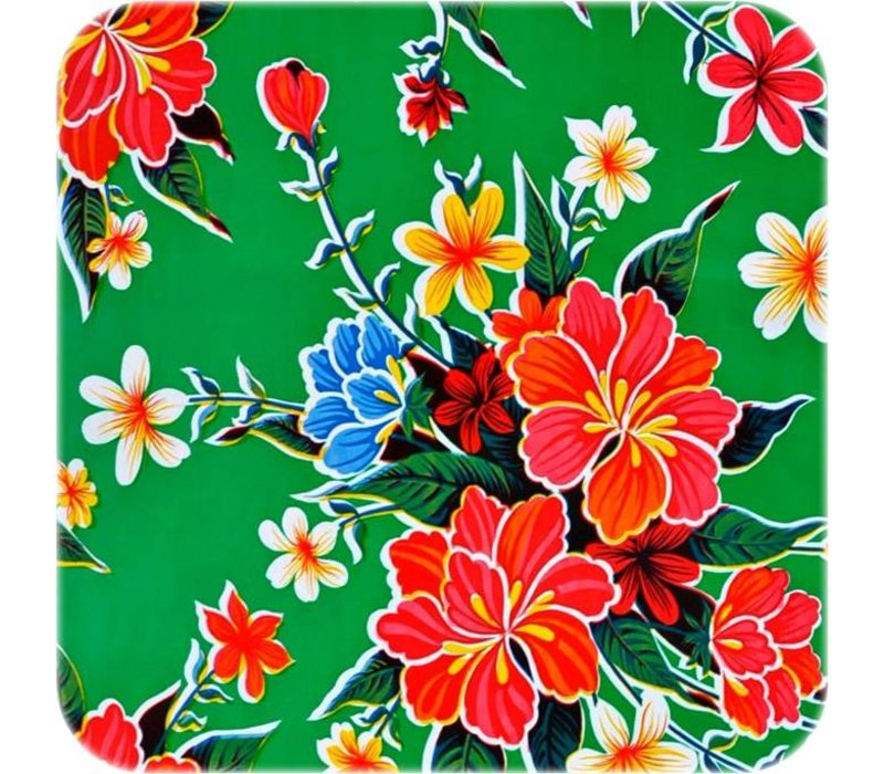 Mexicaans Tafelzeil Fortin  Hibisucs - 120 x 200 cm - Groen