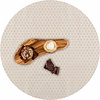 MixMamas Rond Tafelkleed Gecoat - Ø 140 cm - Linnen Stippen - Beige/Crème