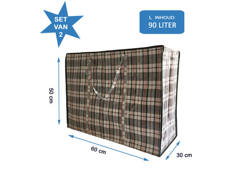 MixMamas Big Shopper Boodschappentas - 60 x 50 cm - Set van 2 - Zwart