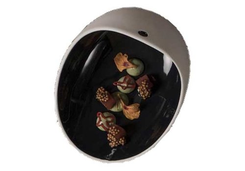 Cookplay Cookplay Jomon Large Kom - Porselein - 18 x 14 x 9 cm - Zwart/Wit