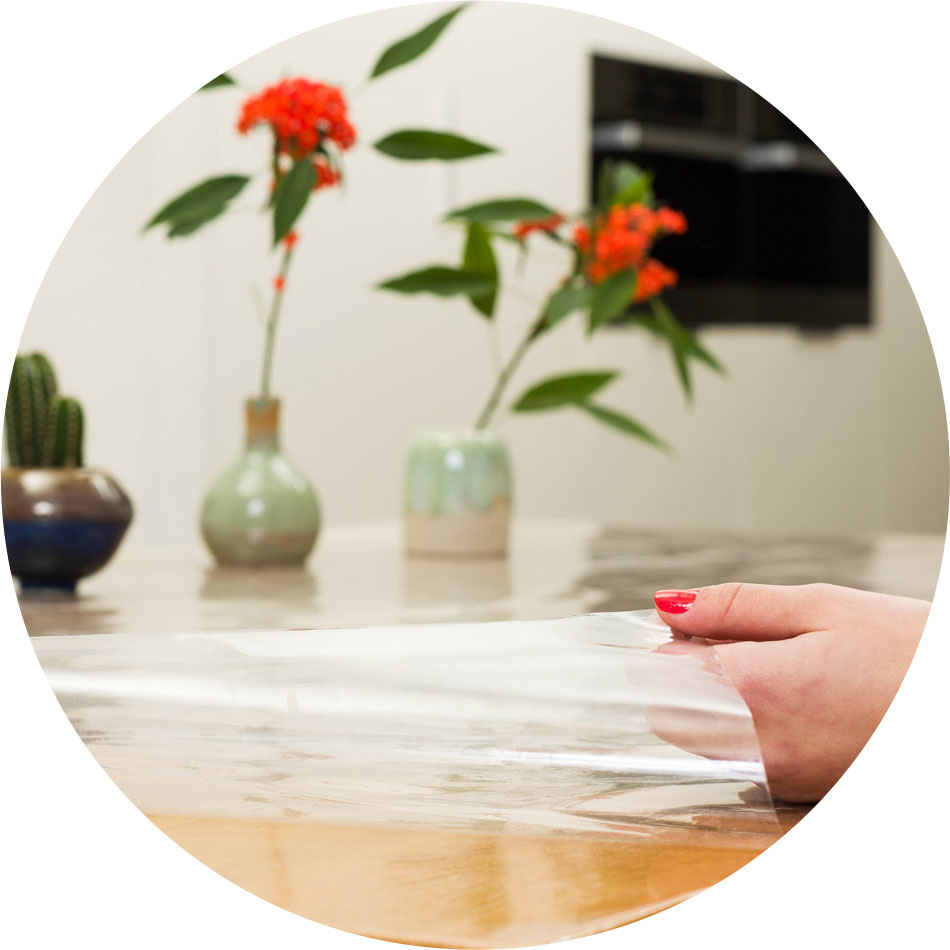 Doorzichtig tafelzeil rond 180 transparant