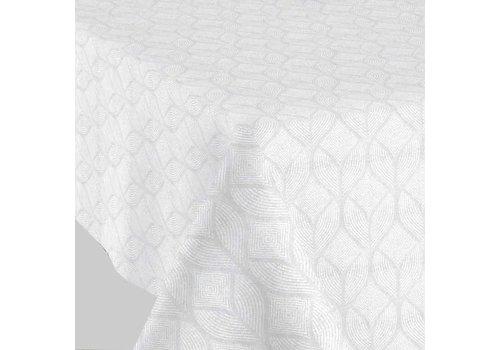 MixMamas Vierkant Tafelkleed Gecoat Jacquard  - Ø 180 cm - Ogee- Wit
