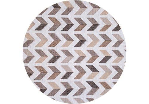 MixMamas Rond Tafelkleed Gecoat - Ø 160 cm - Square Arrow -Beige / Bruin