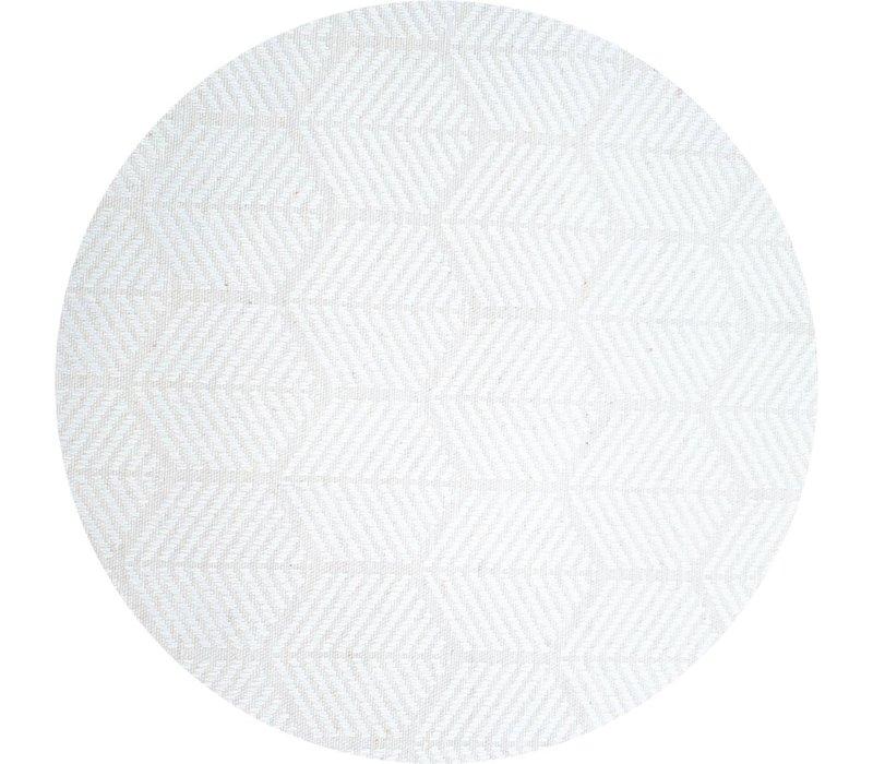 Rond Tafelkleed Gecoat Jacquard - Ø 140 cm – Striped Hexagon - Wit