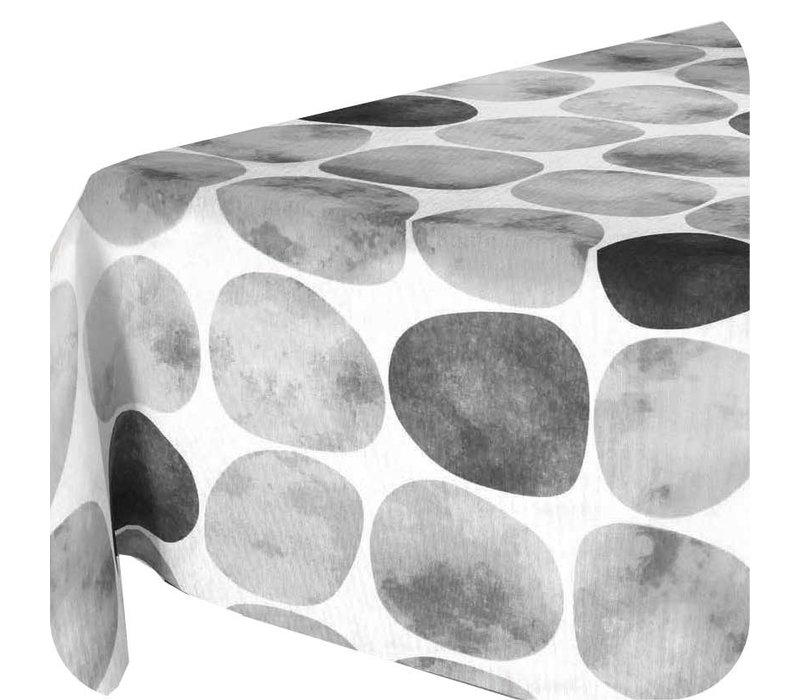 Tafelkleed Gecoat Keien - 140 x 250 cm - Zwart / Grijs