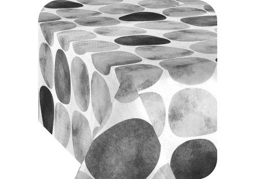 MixMamas Tafelkleed Gecoat Keien - 140 x 250 cm - Zwart / Grijs