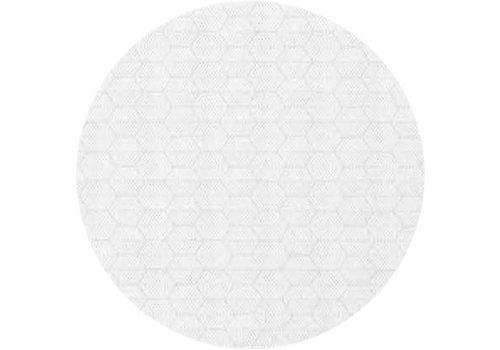 MixMamas Rond Tafelkleed Gecoat Jacquard - Ø 180 cm – Striped Hexagon - Wit