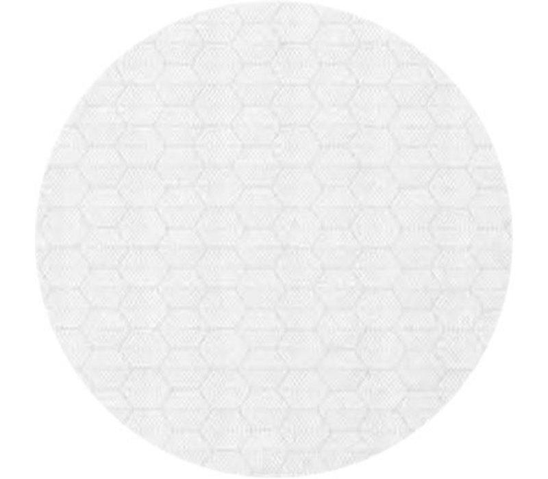Rond Tafelkleed Gecoat Jacquard - Ø 180 cm – Striped Hexagon - Wit