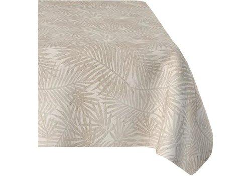 MixMamas Tafelkleed Gecoat Jacquard Palm Leaves – 140 x 250 cm –  Beige