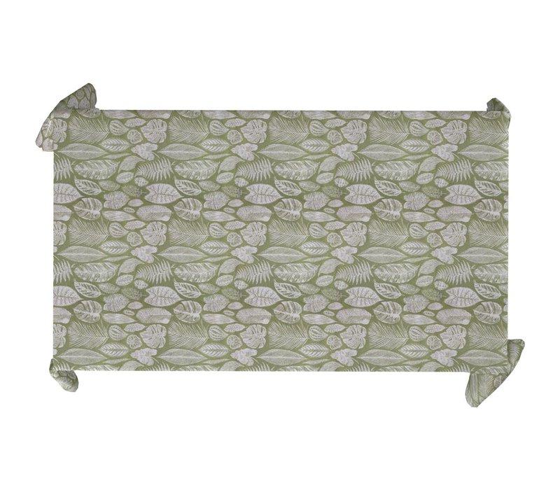 Tafelkleed Gecoat Jacquard Tropische Bladeren  – 140 x 300 cm –  Groen