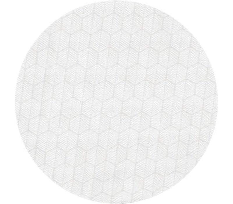 Rond Tafelkleed Gecoat Jacquard - Ø 160 cm – Striped Hexagon - Wit