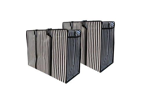 MixMamas Big Shopper met rits - 60 x 45 cm - Strepen - Zwart -Set van 2
