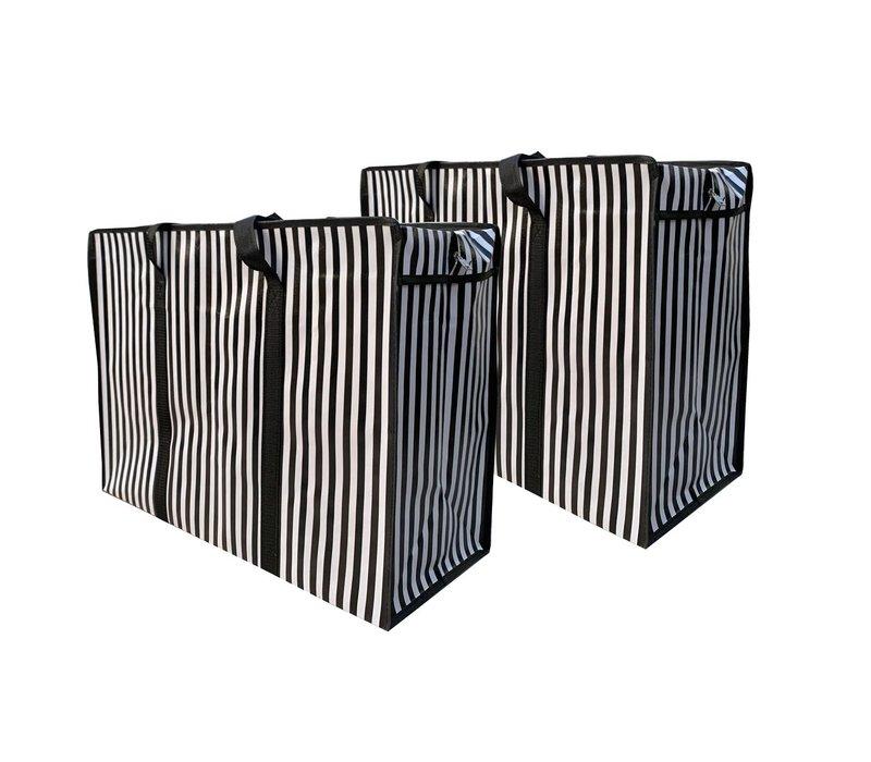 Big Shopper met rits - 60 x 45 cm - Strepen - Zwart -Set van 2