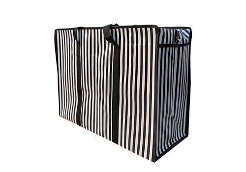 MixMamas Big Shopper met rits - 60 x 45 cm - Strepen - Zwart