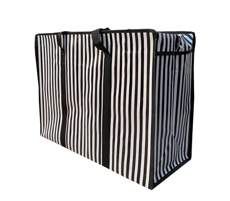 Big Shopper met rits - 60 x 45 cm - Strepen - Zwart