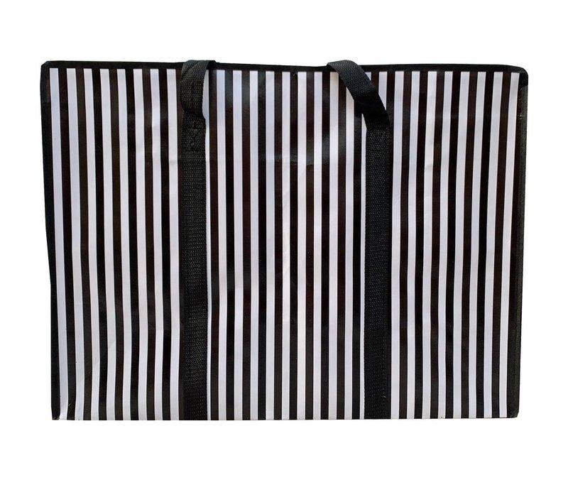 Big Shopper met rits -70 x 50 cm - Strepen - Zwart -Set van 2