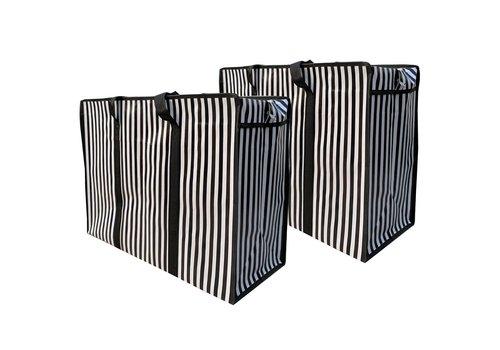 MixMamas Big Shopper met rits - 70 x 50  cm - Strepen - Zwart -Set van 2
