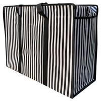Big Shopper met rits -70 x 50 cm - Strepen - Zwart