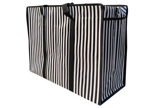 MixMamas Big Shopper met rits - 70 x 50  cm - Strepen - Zwart