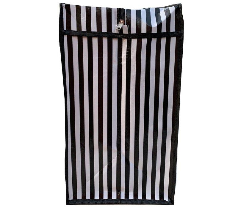 Big Shopper met rits -70 x 505 cm - Strepen - Zwart