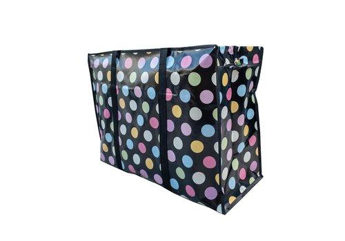 MixMamas Big Shopper met rits - 60 x 45 cm - Stippen - Zwart