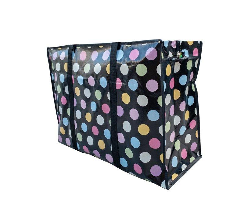 Big Shopper met rits - 60 x 45 cm - Stippen - Zwart