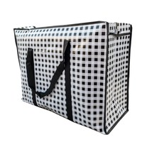 Big Shopper met rits - 60 x 45 cm - Ruitje - Zwart