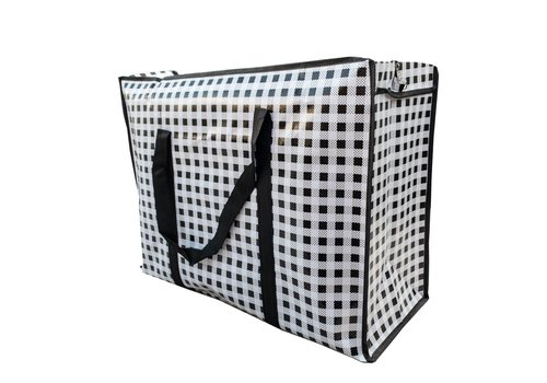 MixMamas Big Shopper met rits - 60 x 45 cm - Ruitje - Zwart