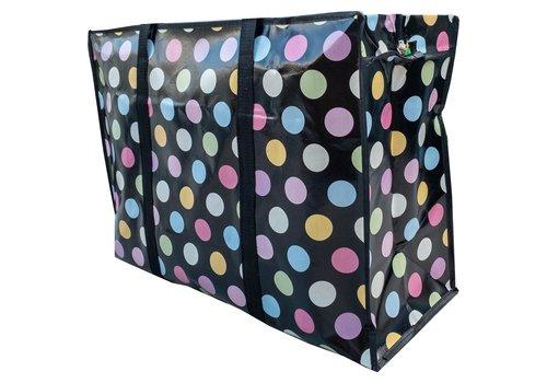MixMamas Big Shopper met rits - 70 x 50  cm - Stippen- Zwart